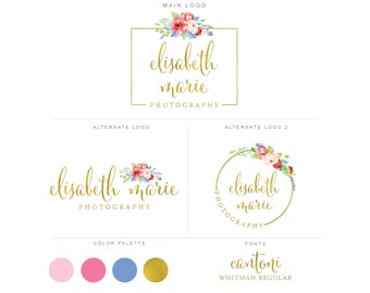 Mini Branding Package, Photography Logo and Watermark, Watercolor Floral Premade Marketing Kit bp08