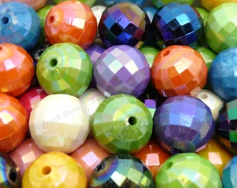 20mm Pearlized Faceted Disco Ball Beads - Bulk 30pcs - Candy Color Beads, Chunky Bubblegum Beads, Round Acrylic Beads - BR4-4
