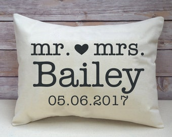 Personalized pillow, engagement, couples gift, wedding gift, hearts - 2nd anniversary gift, cotton anniversary, Valentine idea, Christmas