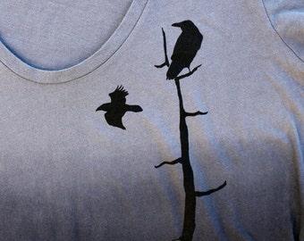 RAVENS Best Seller, dip dye, gray to black, scoop V-neck, birding tee, nature, cool bird tee, black bird,  Bird Nird, Crow, birder shirt