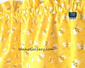 "Bee Valance Golden Yellow Honey Bees Bee Collectors Back to School Classroom Teachers Short 11"" x 42"" Wide Curtain Idaho Gallery"