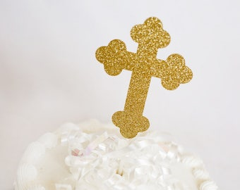 Glitter Cross Cake Topper for  Baptism // Christening // Confirmation // First Communion - 3 1/2 inches