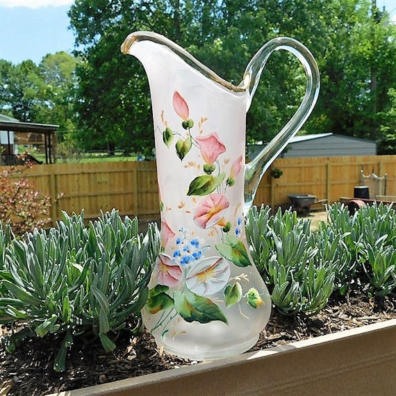 TALL Antique Glass Pitcher / Enamel Hand Painted / Victorian Tankard / Morning Glory Glories