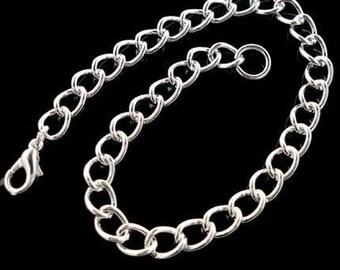 Lot of (10) Silver Plate Curb Chain Charm Bracelet 7.5-8.5 inches