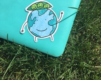 Peas on Earth Laptop Sticker - Vinyl Sticker - Notebook Sticker - Laptop Decal- Vinyl Decal - Peace on Earth - Holiday Sticker - Pun Sticker