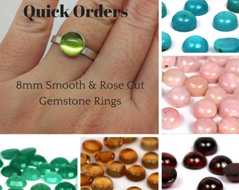 Quick Order - 8mm Gemstone Rings - Sterling Silver