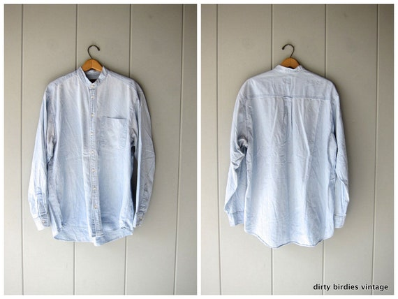 Washed Out Chambray Jean Shirt 90s Oversized Light Blue Denim Shirt Collarless Button Up Boyfriend Shirt Minimal Boho Slouchy Mens XL Tall