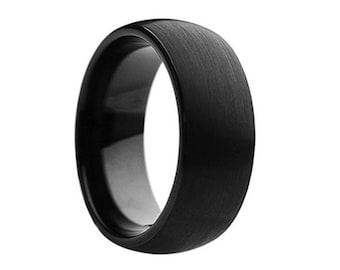 Tungsten Wedding Band,8mm,Black Wedding Band,Mens Wedding Band,Engraving,Anniversary,Brushed,Polish,Size,Mens Ring,Mans,Rings,Set,His Hers