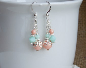 Coral and Mint Dangle Bridesmaids Earrings - Crystals and Pearl Wedding Jewelry - Sterling Silver Option - Necklace Bracelet Set Available