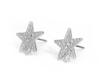 "10 support of ""chips"" Star type 13mm silver hammered earrings"