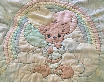 Precious Moments Vintage Fabric Panel with Bear on clouds with rainbow Polyester/Cotton- finished quilt