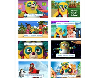 8 PERSONALIZED Printed Special Agent Oso inspired stickers, birthday party favors, Custom Made