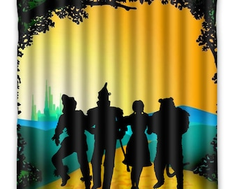 Off To See The Wizard Of Oz Shower Curtain - Oz Emerald City - Shower Curtain - Dorothy - Tin Man- Yellow Brick Road - oz bath Home Decor