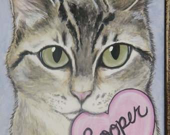 Custom Pet Portrait Painting 8x10 hand painted, pet loss, pet memorial, Valentine's gift, best friend
