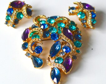 Brooch or Earrings 1950s Signed SPHINX - Peacock Blues & Purples in Gold Tone Settings - Purchase individually or as a Matching Set Clip On