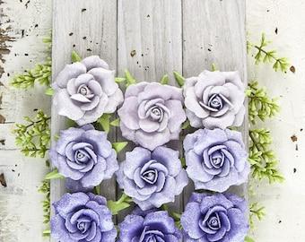NEW Paper Flowers : Prima London - Aristocrat 577476 Purple Glittered Small Rose. Scrapbooking, Wedding embellishments. DIY Supplies.