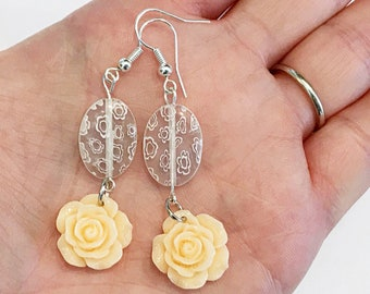 light orange earrings, peach rose earrings, earrings handmade, plastic flower earrings, peach dangle earrings, summer jewelry handmade