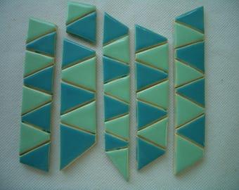 TJT - TURQUOISE, JADE Triangles - Ceramic Mosaic Tiles