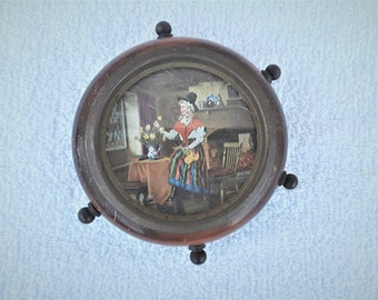 Vintage  Nautical Small  Wood  Wheel  With  Picture