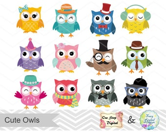 Digital Owl Clip Art, Cute Owl Clipart, Digital Owl Scrapbook, Owl Scrapbooking, 00154