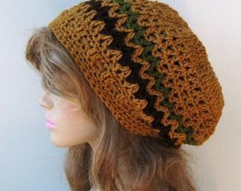 Slouchy beanie, Honey Zig Zag Tam hat, Hippie Bohemian beanie hat, smaller Dreadlocks Hat, vegan soft Slouch Beanie, woman beanie, women hat