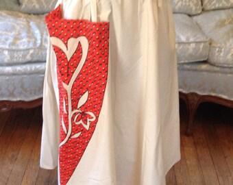 1950s Circle Skirt / Circle Skirt Oversize Pocket Linn Kelly California / Vintage Skirt