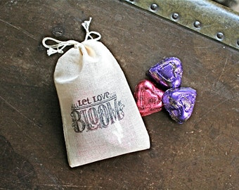 Wedding favor bags, set of 50 hand stamped cotton bags, Let Love Bloom, cloth favor bags, wedding favor, bridal shower, cotton favor bags