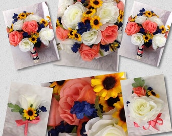 New Artificial Sunflower, Coral, Ivory, & Navy wedding flowers. Coral Reef Sunflower Wedding Bouquet