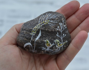Hand painted stone. Home decor. Painted rock art. Unique gift. Bird painting.