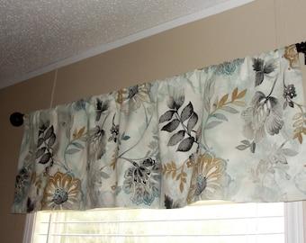 Kelly Ripa Gold Leaf Valance Lined or Unlined Designer Fabric blue black grey gold