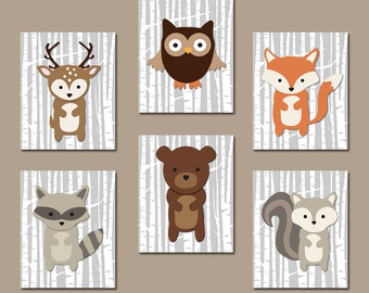 WOODLAND Nursery Wall Art, WOODLAND Nursery Decor, Canvas or Prints, Birch Wood Forest Animals Art, Woodland Animal Wall Decor, Set of 6 Art