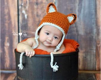 Little Fox Baby Hat, Newborn Earflap Beanie