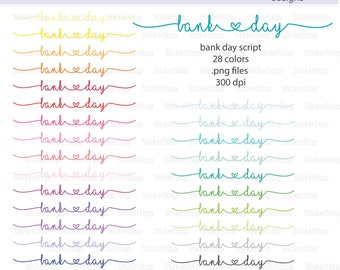 Bank Day Script Icon Digital Clipart in Rainbow Colors - Instant download PNG files