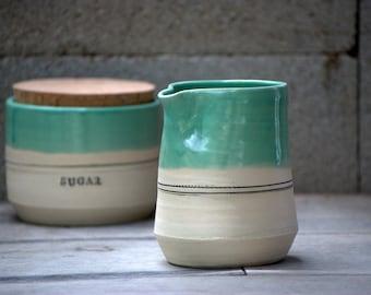 Cream and sugar set - ceramic creamer set - Rustic modern  - unique gift ideas - housewarming gift - hostess gift -