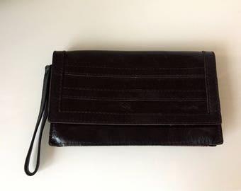 Vintage/black/leather/wristlett/wallet/rock n roll/edgy/tough/tomboy/street style/fashionista