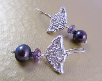 Black Pearl and Butterfly Earrings - Fine Silver Butterflies - Black Pearls and Purple Crystals - Fine Silver PMC Earrings - Dangle Earrings