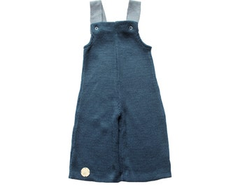 FRENCH VINTAGE 70's / baby dungarees / êtroleum blue acrylic knit / new old stock / size 6 months
