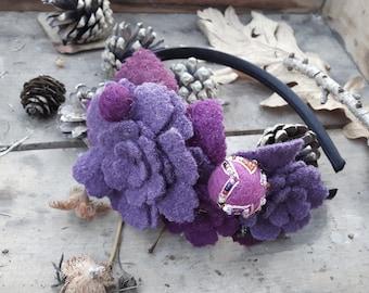 Haarreif Lila Violett Fuchsia Purpur Fascinator Wolle Winter opulent Frida Kahlo Ethno Hippie Boho Style boheme Haarschmuck headpiece warm