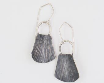 Pebble Sterling Silver Spike Earrings - Oxidized Silver Earrings