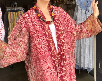Amazing red floral reversible silk kantha in plus size