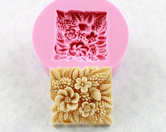 Flower Tile Silicone Mold Mould Polymer Clay Resin Soap Wax Chocolate Fondant Butter  Mold (305)