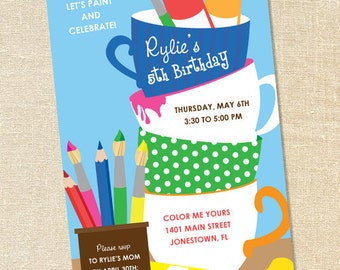 Sweet Wishes Creative Painting Pottery Party Invitations - PRINTED - Digital File Also Available