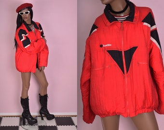 80s Color Block Puffy Windbreaker Jacket/ Unisex XL/ 1980s