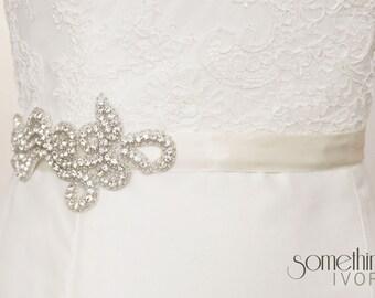 TIFFANY - Beaded Rhinestone Bridal Sash, Wedding Belt
