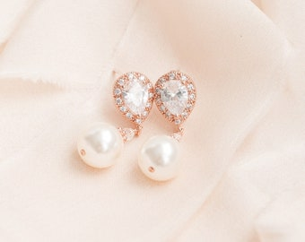 Wedding Earrings, Rose Gold Drop Pearl Earrings, Pearl Earrings, Bridal Jewelry