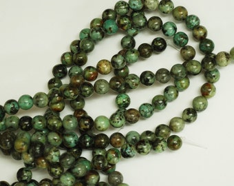 African Turqoise Smooth Round Shape Beads
