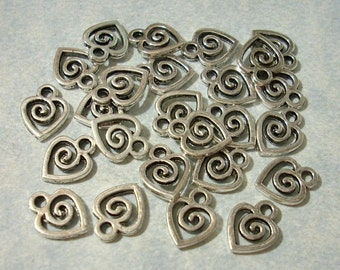 25 Small Heart Charms 8mm x 10mm
