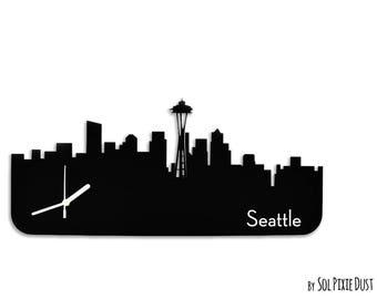 Seattle Skyline - Silhouette - Wall Clock