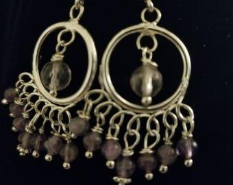 Sterling Amethyst Chandelier Earrings