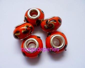 5 flower leaf dark red 14mm murano style glass lampwork beads